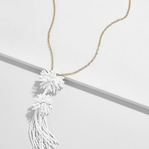 Women's White Rishita Tassel Pendant Necklace-New
